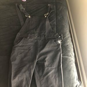 Deep Black Pants Overalls with Rips